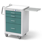 Waterloo Healthcare 4-Drawer Steel Junior Short Medical Bedside Cart, Key Lock, Teal Green