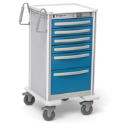Waterloo Healthcare 6-Drawer Aluminum Junior Tall Nurse Server Cart, Electronic Lock, Electric Blue