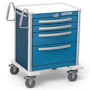 Waterloo Healthcare 4-Drawer Aluminum Short Emergency Cart, Lever Lock, Electric Blue