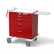 Waterloo 4-Drawer Short Steel Emergency Crash Cart with Level Locking USRLU-3369-RED