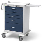 Waterloo Healthcare 6-Drawer Steel Tall Anesthesia Cart, Push Button Lock, Dark Blue