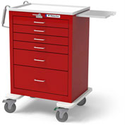 Waterloo 6-Drawer Tall Steel Emergency Crash Cart UTRLU-333369-RED, Lever Lock, Red