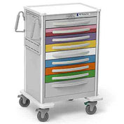 Waterloo Healthcare 9-Drawer Aluminum X-Tall Pediatric Emergency Cart, Lever Lock, Multi-Color