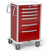Waterloo Healthcare 6-Drawer Aluminum X-Tall Emergency Cart, Lever Lock, Red