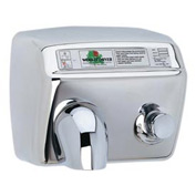 World Dryer Pushbutton Hand Dryer - 115V, Brushed SS - DA5-973