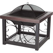"Fire Sense 28"" Squared Cocktail Table Fire Pit 61331 Hammer Tone Bronze Finish"