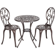Antique Bronze Cast Aluminum Bistro Set, 3-Piece