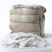 "Wipe-Tex Recycled White Cut Rags, 17"" x 19"", 50 lb. Bale - R-W9001-BALE"