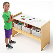 Whitney Brothers Play Table with Dry Erase Marker Board Top and Storage and Trays