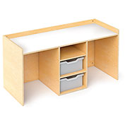 Whitney Brothers STEM 2 Student Activity Desk with Trays - Natural