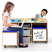 Whitney Brothers STEM 2 Student Activity Desk with 2 Rolling Storage Bin Seats - Natural