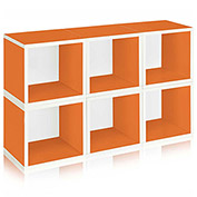 Way Basics Stackable Modular Storage 6 Cubes, Orange