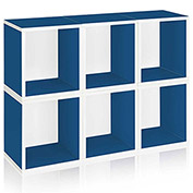 Way Basics Stackable Storage 6 Cubes Plus, Blue