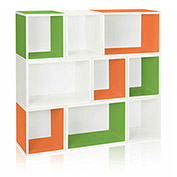 Way Basics Stackable Oxford Modular Storage, Green/Orange/White