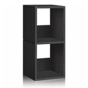 Way Basics Eco 2 Shelf Duo Narrow Bookcase, Black