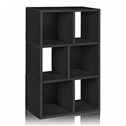 Way Basics 3 Shelf Laguna Bookcase, Black