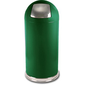 Standard 15 Gallon Steel Receptacle w/Push Door Dome Lid, Spruce Green - 15DTSGN