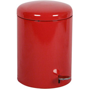Step-On Round 4 Gallon Steel Receptacle, Red - 2240RD