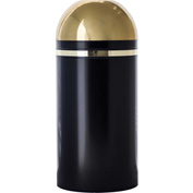 Monarch 15 Gallon Steel Receptacle w/Open Dome Top, Black w/Brass Accents - 415DT-11