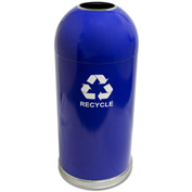 Indoor 15 Gallon Steel Recycling Container w/Open Dome Top, Blue - 415DTBL-R