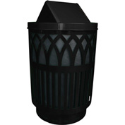 Covington 40 Gallon Swing Top Receptacle, Black - COV40P-SWT-BK