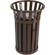 "Oakley Slatted Steel Ash Urn 17""Dia. X 26""H, Brown - M2000-BN"