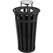 Oakley 24 Gallon Slatted Steel Receptacle w/Ash Top, Black - M2401-AT-BK
