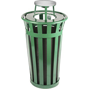 Oakley 24 Gallon Slatted Steel Receptacle w/Ash Top, Green - M2401-AT-GN