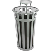 Oakley 24 Gallon Slatted Steel Receptacle w/Ash Top, Silver - M2401-AT-SLV
