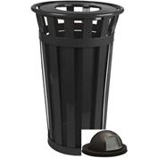 Oakley 24 Gallon Slatted Steel Receptacle w/Dome Top, Black - M2401-DT-BK