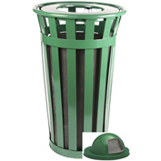 Oakley 24 Gallon Slatted Steel Receptacle w/Dome Top, Green - M2401-DT-GN