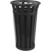 Oakley 24 Gallon Slatted Steel Receptacle w/Flat Top, Black - M2401-FT-BK
