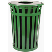 Oakley 24 Gallon Slatted Steel Receptacle w/Flat Top, Green - M2401-FT-GN
