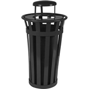 Oakley 24 Gallon Slatted Steel Receptacle w/Raincap, Black - M2401-RC-BK