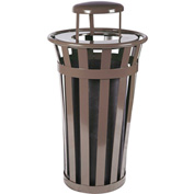 Oakley 24 Gallon Slatted Steel Receptacle w/Raincap, Brown - M2401-RC-BN