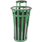 Oakley 24 Gallon Slatted Steel Receptacle w/Raincap, Green - M2401-RC-GN