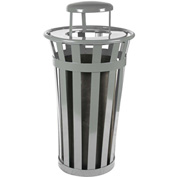 Oakley 24 Gallon Slatted Steel Receptacle w/Raincap, Silver - M2401-RC-SLV