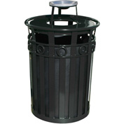 Oakley 36 Gallon Decorative Slatted Steel Receptacle w/Ash Urn Lid, Black - M3600-R-AT-BK