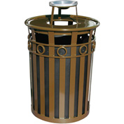 Oakley 36 Gallon Decorative Slatted Steel Receptacle w/Ash Urn Lid, Brown - M3600-R-AT-BN