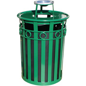 Oakley 36 Gallon Decorative Slatted Steel Receptacle w/Ash Urn Lid, Green - M3600-R-AT-GN