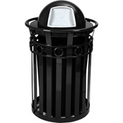 Oakley 36 Gallon Decorative Slatted Steel Receptacle w/Dome Top, Black - M3600-R-DT-BK