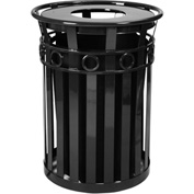 Oakley 36 Gallon Decorative Slatted Steel Receptacle w/Flat Top, Black - M3600-R-FT-BK