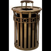 Oakley 36 Gallon Decorative Slatted Steel Receptacle w/Raincap Top, Green - M3600-R-RC-GN