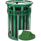 Oakley 36 Gallon Decorative Slatted Steel Receptacle w/Swing Top, Green - M3600-R-SWT-GN