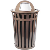 Oakley 36 Gallon Slatted Steel Receptacle w/Dome Top, Brown - M3601-DT-BN
