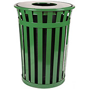 Oakley 36 Gallon Slatted Steel Receptacle w/Flat Top, Green - M3601-FT-GN