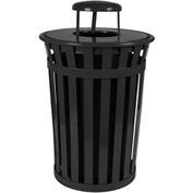 Oakley 36 Gallon Slatted Steel Receptacle w/Raincap Top, Black - M3601-RC-BK