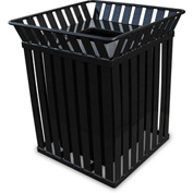 Oakley 36 Gallon Slatted Square Steel Receptacle w/Flat Top, Black - M3601-SQ-FT-BK