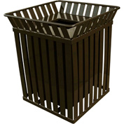 Oakley 36 Gallon Slatted Square Steel Receptacle w/Flat Top, Brown - M3601-SQ-FT-BN