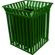 Oakley 36 Gallon Slatted Square Steel Receptacle w/Flat Top, Green - M3601-SQ-FT-GN